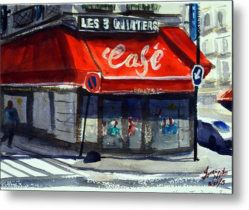 Cafe Metal Print featuring the painting Bar Les 3 Quartiers by James Nyika