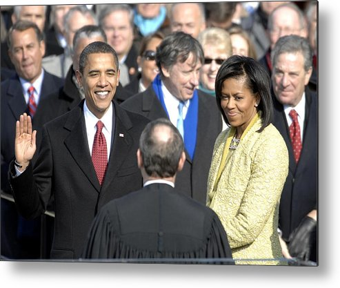 History Metal Print featuring the photograph Barack Obama Is Sworn In As The 44th by Everett