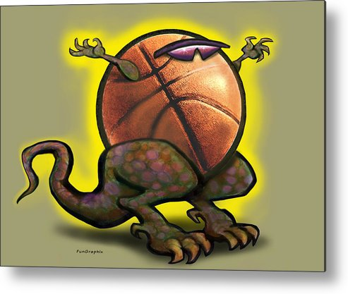 Basketball Metal Print featuring the digital art Basketball Saurus Rex by Kevin Middleton