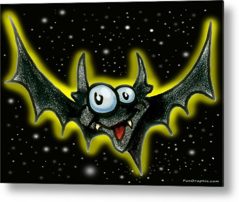 Bat Metal Print featuring the greeting card Batty by Kevin Middleton