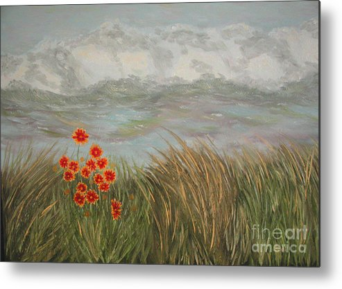 Landscape Metal Print featuring the painting Beach Daisies On Dune by Sodi Griffin