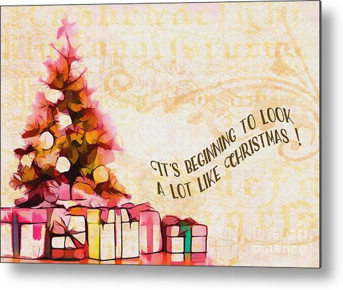 Holiday Metal Print featuring the digital art Beginning To Look Like Christmas Card 2017 by Kathryn Strick