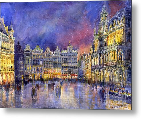 Watercolour Metal Print featuring the painting Belgium Brussel Grand Place Grote Markt by Yuriy Shevchuk
