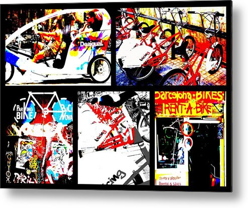 Bicycle Metal Print featuring the photograph Biking In Barcelona by Funkpix Photo Hunter