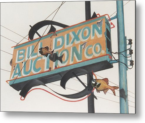 Cityscape Metal Print featuring the painting Bill Dixon Auction by Van Cordle