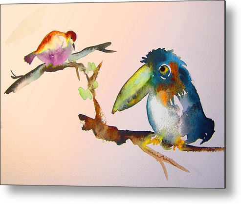 Watercolour Metal Print featuring the painting Birds In Love by Miki De Goodaboom