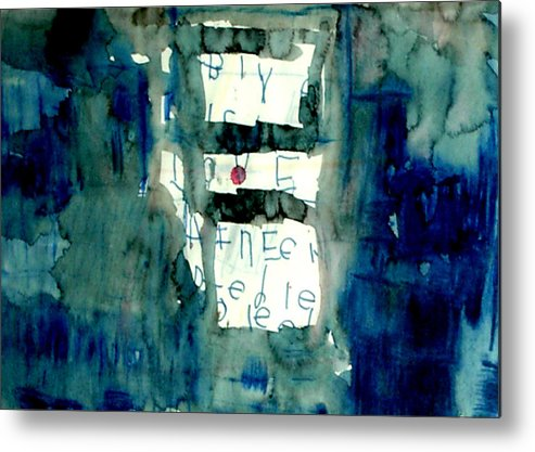 Abstract Metal Print featuring the painting Blue Building by Alfred Resteghini