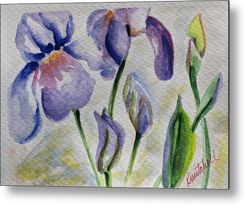 Floral Metal Print featuring the painting Blue Iris by Kathy Mitchell