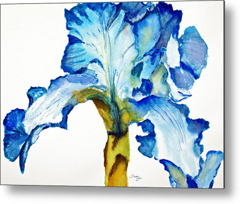 Iris Metal Print featuring the painting Blue Iris by Tina Storey