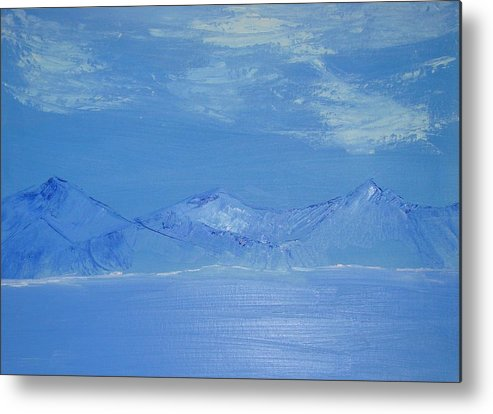Mountains Metal Print featuring the painting Blue Landscape by Liz Vernand