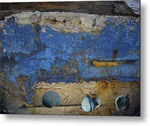Photopainting Metal Print featuring the digital art Blue Wall by Helga Schmitt
