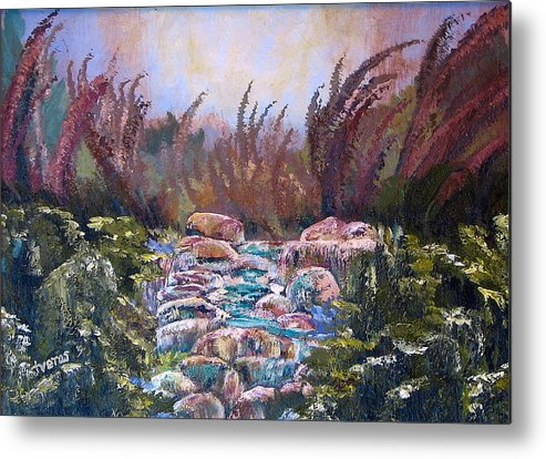 Water Metal Print featuring the painting Blue Water by Laura Tveras