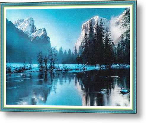Rural Metal Print featuring the painting Blue Winter Fantasy. L B With Decorative Ornate Printed Frame. by Gert J Rheeders