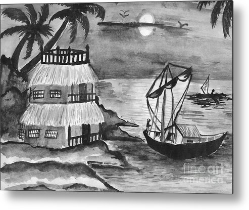 Nature Metal Print featuring the painting Boat Sailing In Moon Light by Tanmay Singh