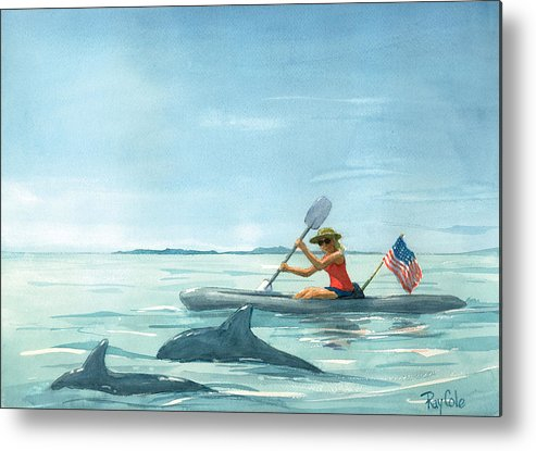 Ocean Metal Print featuring the painting Boating Dolphin by Ray Cole