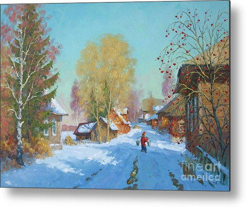 Landscape Metal Print featuring the painting Bor Village by Alexander Alexandrovsky