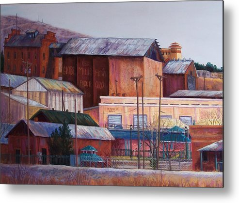 Landscape Metal Print featuring the pastel Borderland Mills by Candy Mayer