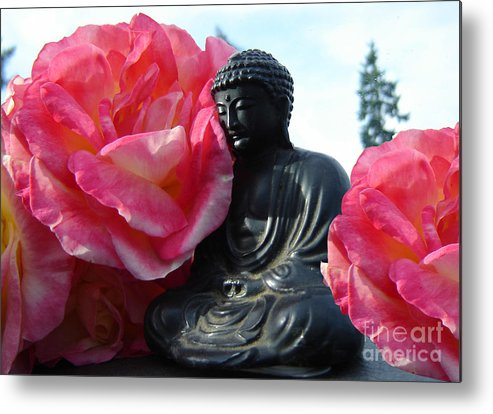 Buddha Metal Print featuring the photograph Buddha And Roses by Eric Singleton