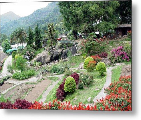 Burma Metal Print featuring the photograph Burma Village Garden And Pond by John Johnson