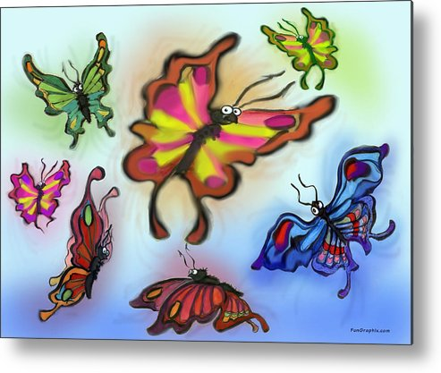 Butterfly Metal Print featuring the digital art Butterflies by Kevin Middleton