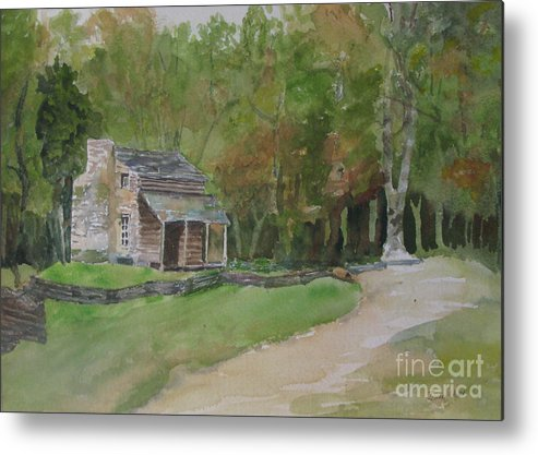 Cabin; Woods; Trees; Landscape; Metal Print featuring the painting Cabin In The Woods by Jeneane Mixon