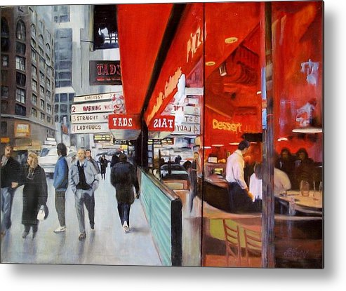 Cafe Metal Print featuring the painting Cafe On Broadway by Vladimir Troitsky