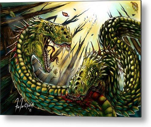Wyrm Dragon Fantasy Metal Print featuring the digital art Cannibalistic Tendencies by Tony Thalassinos