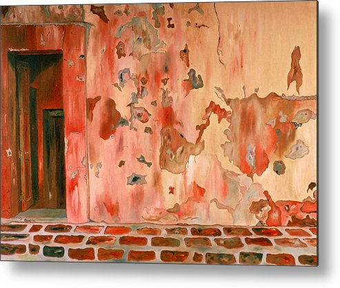 Landscape Metal Print featuring the painting Casa Vieja Old House by Oudi Arroni