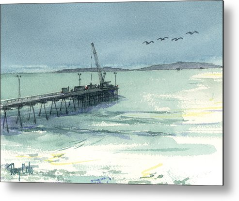 View Of Casitas Pier Metal Print featuring the painting Casitas Pier 3 by Ray Cole