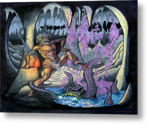 Cave Metal Print featuring the painting Cave Creature by Kevin Middleton