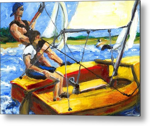 Coronado 15 Metal Print featuring the painting Charlies Race Boat by Randy Sprout