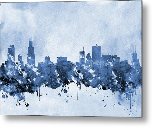 Chicago Metal Print featuring the digital art Chicago Skyline-blue 2 by Erzebet S
