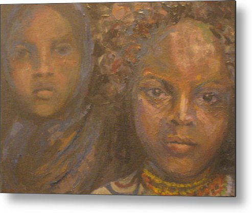 Black Metal Print featuring the painting Children Of Sorrow by Connie Freid