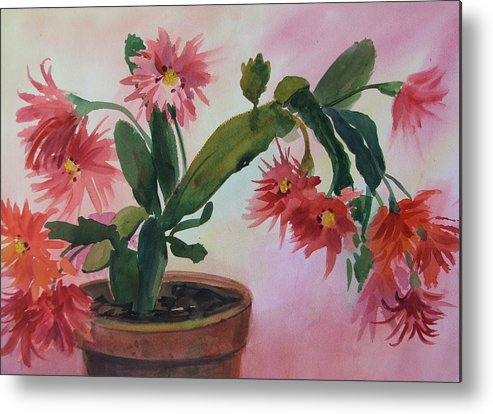 Floral Metal Print featuring the painting Christmas Cactus by Dianna Willman