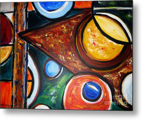 Abstract Painting Metal Print featuring the painting Circles Of Life by Yael VanGruber