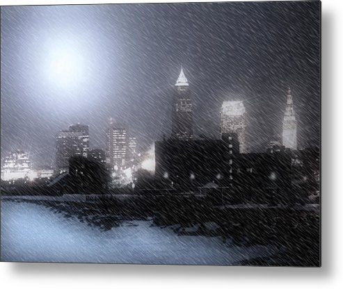 Cleveland Metal Print featuring the photograph City Bathed In Winter by Kenneth Krolikowski