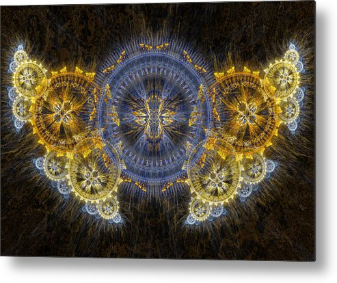 Steampunk Metal Print featuring the digital art Clockwork Butterfly by Martin Capek