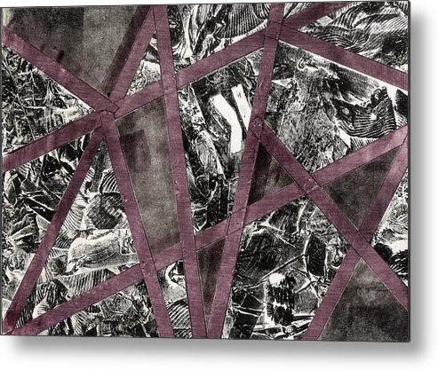 Abstract Metal Print featuring the mixed media Between The Lines by Heather Brown