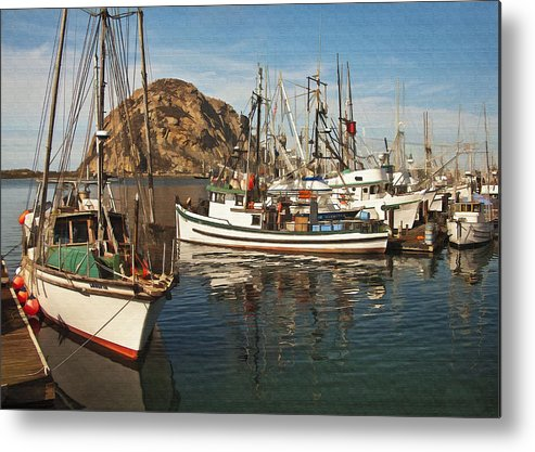 Morro Bay Metal Print featuring the digital art Colorful Harbor by Sharon Foster