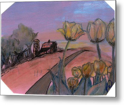 Watercolor Pencils Metal Print featuring the drawing Country Road by Pamela Wilson