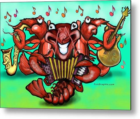 Crawfish Metal Print featuring the greeting card Crawfish Band by Kevin Middleton