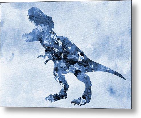 Dinosaur Rex Metal Print featuring the digital art Dinosaur Rex-blue by Erzebet S