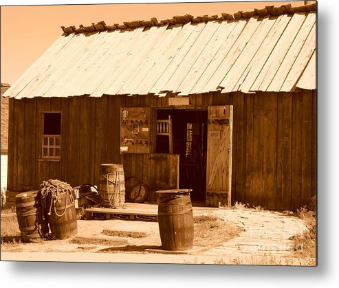 Sepia Metal Print featuring the photograph Dinwoodey Cabinet And Chair Shop by Dennis Hammer