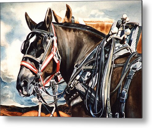 Horse Metal Print featuring the painting Draft Mules by Nadi Spencer