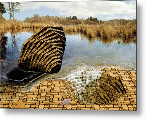 Drain Metal Print featuring the digital art Drain - Mendon Ponds by Peter J Sucy