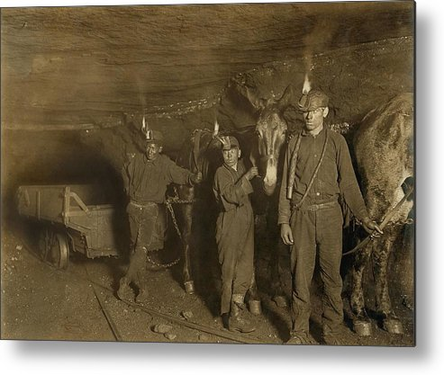 History Metal Print featuring the photograph Drivers And Mules With Young Laborers by Everett