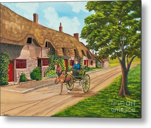 English Painting Metal Print featuring the painting Driving A Jaunting Cart by Charlotte Blanchard
