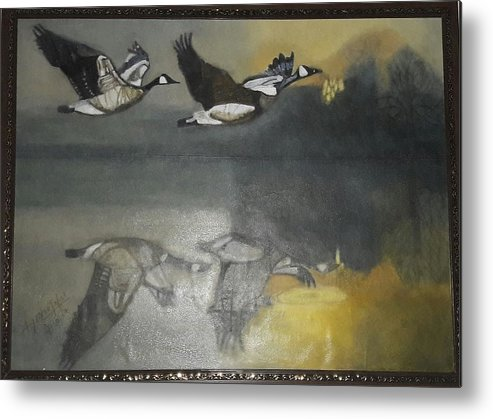 Landsacape Metal Print featuring the painting Duck Are Flying On The Sea Side by Ayesha Jafar