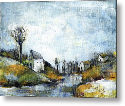 Landscape Metal Print featuring the painting End Of Winter - Acrylic Landscape Painting On Cotton Canvas by Aniko Hencz