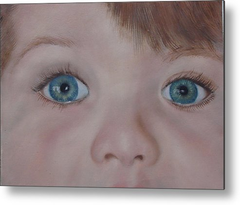 Eyes Metal Print featuring the painting Eyes Of A Child by Darlene Green